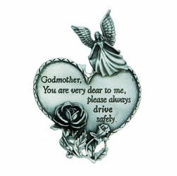 "3-7/8 x 1-7/8 Inch Pewter Godmother ""Drive Safely"" Heart and Angel Visor Clip"
