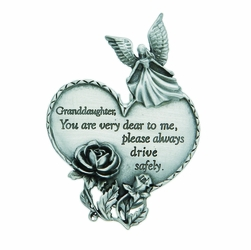 "3-7/8 x 1-7/8 Inch Pewter Granddaughter ""Drive Safely"" Heart and Angel Visor Clip"