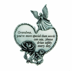 "3-7/8 x 1-7/8 Inch Pewter Grandma ""Drive Safely"" Heart and Angel Visor Clip"