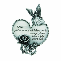 "3-7/8 x 1-7/8 Inch Pewter Mom ""Drive Safely"" Heart and Angel Visor Clip"