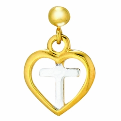 3/8 Inch Two-Tone 14K Gold Over Sterling Silver Heart Cross Earrings