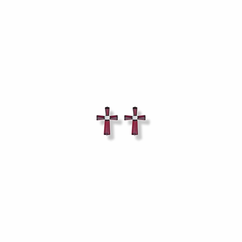 3/8 Inch Sterling Silver and Glass Crystal January Birthstone Baguette Cross Earrings