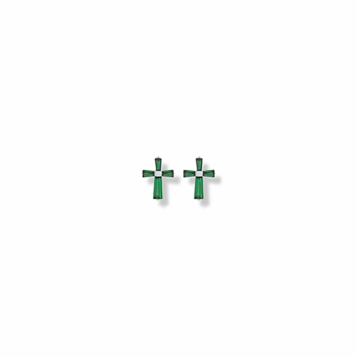 3/8 Inch Sterling Silver and Glass Crystal May Birthstone Baguette Cross Earrings