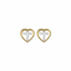 3/8 Inch Two-Tone 14KT Gold Plated  Over Sterling Silver Heart Cross Earrings