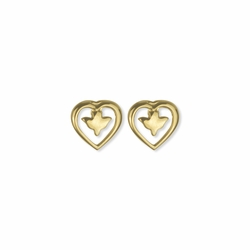 3/8 Inch Two-Tone 14K Gold Over Sterling Silver Heart Dove Earring