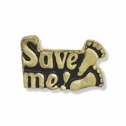 3/8 x 1/2 Inch Antiqued Gold Save Me Foot Prints Lapel Pin