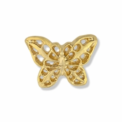 3/8 x 1/2 Inch Gold Filigree Butterfly Lapel Pin