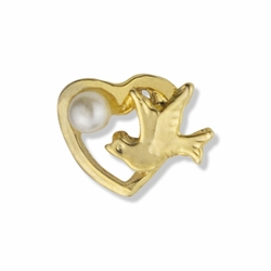 3/8 x 1/2 Inch Gold Open Heart with Ascending Dove and Imitation Pearl