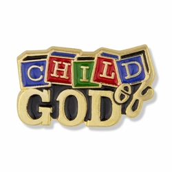 3/8 x 3/4 Inch Gold Enameled Child of God Lapel Pin