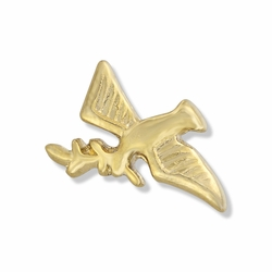 3/8 x 5/8 Gold Descending Dove with Olive Branch Lapel Pin