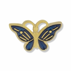 3/8 x 5/8 Inch Gold and Enameled Butterfly Lapel Pin