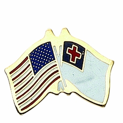 3/8 x 5/8 Inch Gold Enameled American-Christian Cross Flags Lapel Pin