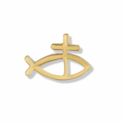 3/8 x 5/8 Inch Gold Fish and Cross Lapel Pin