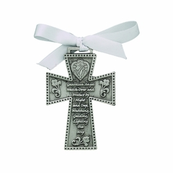 3 Inch Pewter Guardian Angel Cradle Wall Cross with White Satin Ribbon