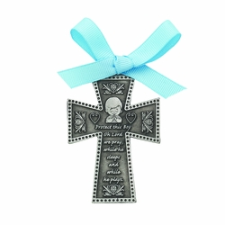 3 Inch Pewter Praying Baby Boy Cradle Wall Cross with Blue Satin Ribbon