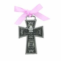 3 Inch Pewter Praying Baby Girl Cradle Wall Cross with Blue Satin Ribbon