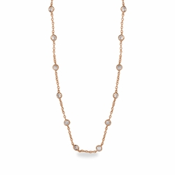 36 Inch Rose Gold Plated Cable Necklace Chain with Crystal CZ Stones