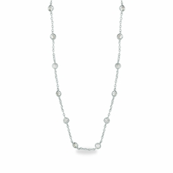 36 Inch Silver Plated Cable Necklace Chain with Crystal CZ Stones