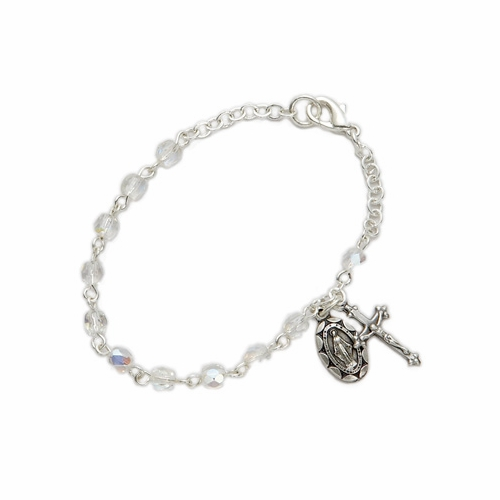 3mm April White Crystal Birthstone Rosary Beads Bracelet with Miraculous and Crucifix Charms