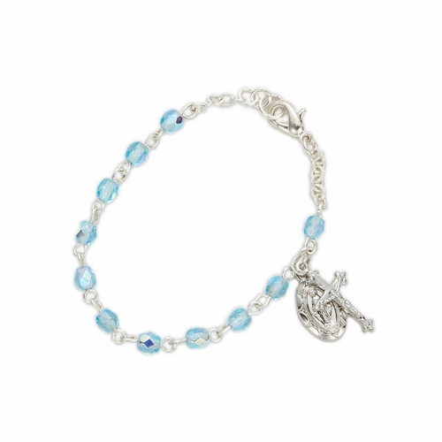 3mm March Birthstone Rosary Beads Bracelet with Miraculous and Crucifix Charms