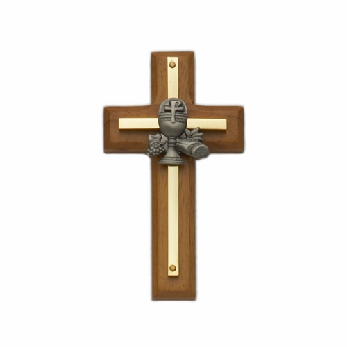 4-1/2 Inch Brass and Wood Wall Cross with Centered Pewter Chalice