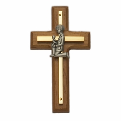 4-1/2 Inch Brass and Wood Wall Cross with Centered Pewter First Communion Boy