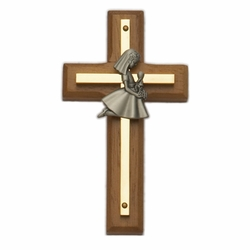 4-1/2 Inch Brass and Wood Wall Cross with Centered Pewter First Communion Girl