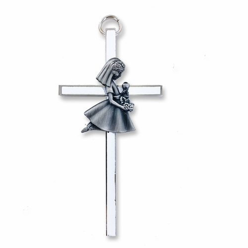 4-1/2 Inch Silver Enameled Wall Cross with Centered Kneeling First Communion Girl