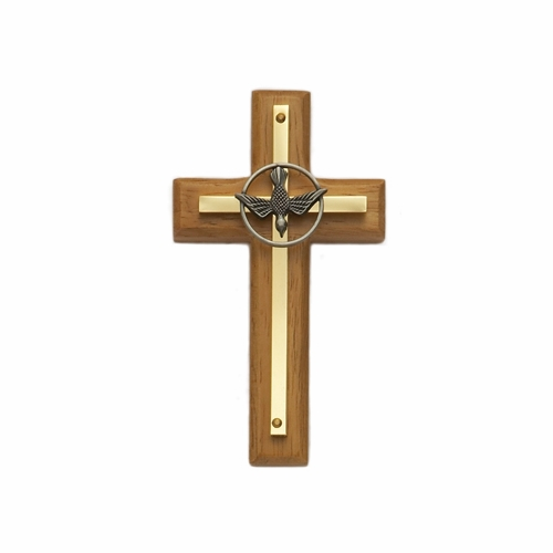 4-1/2 Inch Wood and Brass Confirmation Wall Cross