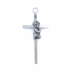 4-1/4 Inch Silver Plated Metal Wall Cross with Little Centered Praying Boy