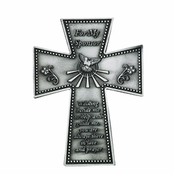 4-3/4 Inch Pewter For My Sponsor Wall Cross