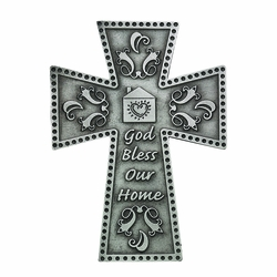 4-3/4 Inch Pewter God Bless Our Home Wall Cross
