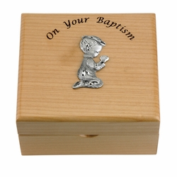 4-3/4 x 4-1/4 x 2-3/4 Inch Baby Boy Baptism Maple Wood Keepsake Box