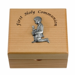 4-3/4 x 4-1/4 x 2-3/4 Inch Boy First Communion Maple Wood Keepsake Box