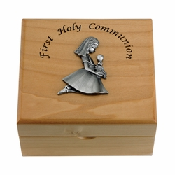 4-3/4 x 4-1/4 x 2-3/4 Inch Girl First Communion Maple Wood Keepsake Box