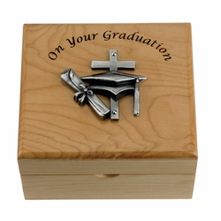4-3/4 x 4-1/4 x 2-3/4 Inch Graduation Maple Wood Keepsake Box