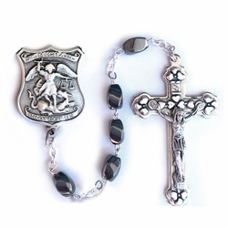 7mm Hematite Beads Rosary with Crucifix and St. Michael Center