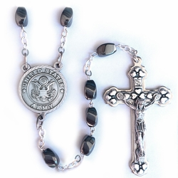 7mm Hematite Beads Rosary with Crucifix and U.S. Army Center
