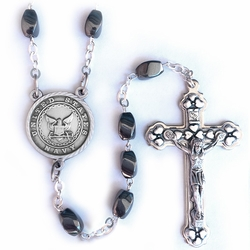 7mm Hematite Beads Rosary with Crucifix and U.S. Navy Center