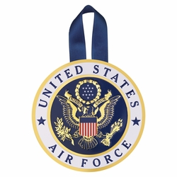 4 Inch Round Raised and Color Printed United States Air Force Insignia Aluminum Metal Christmas Ornament