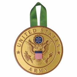 4 Inch Round Raised and Color Printed United States Army Corps Insignia Aluminum Metal Christmas Ornament