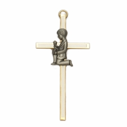 4 Inch Screened Brass First Communion Boy Wall Cross