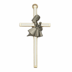 4 Inch Screened Brass First Communion Girl Wall Cross