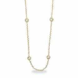 48 Inch Gold Plated Cable Necklace Chain with Crystal CZ Stones