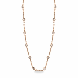 48 Inch Rose Gold Plated Cable Necklace Chain with Crystal CZ Stones