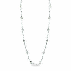 48 Inch Sterling Silver Cable Necklace Chain with Crystal CZ Stones