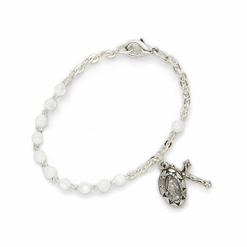 5-1/2 Inch White Pearl Beads Bracelet with Miraculous and Crucifix Charms