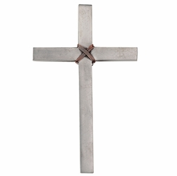 5-1/2 Inch Pewter Wall Cross With Rope-Like Copper Wire