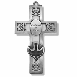 5-1/2 Inch Pierced Pewter Dove Confirmation Wall Cross