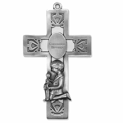 5-1/2 Inch Pierced Pewter First Communion Boy Wall Cross